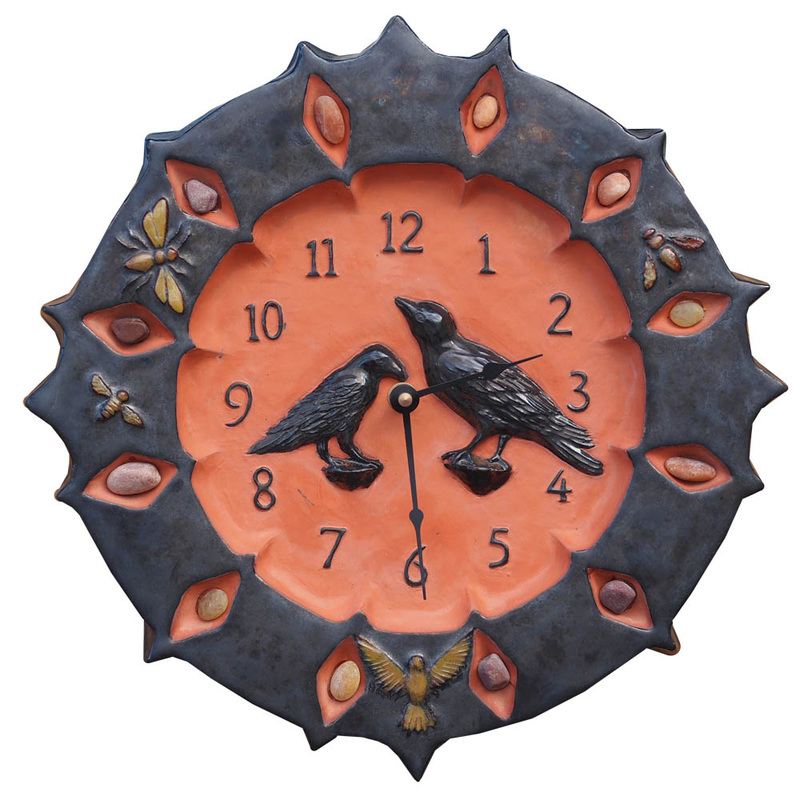 artist made ceramic kitchen wall clock with ravens