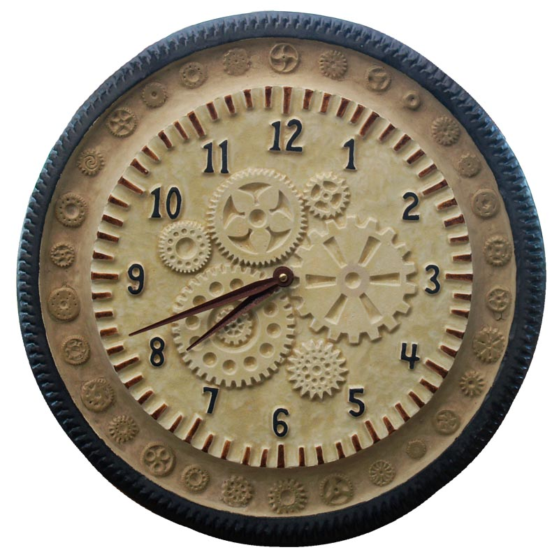 Industrial Ceramic steam punk large wall clock