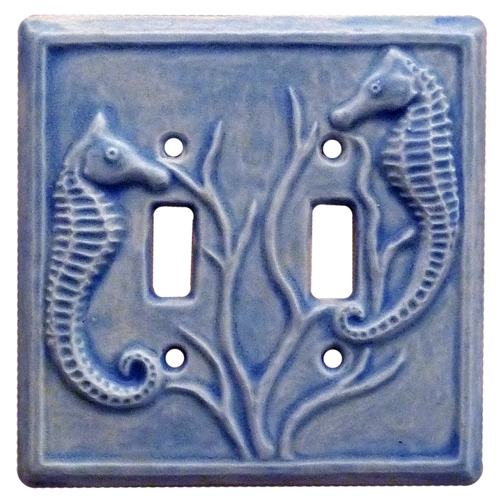 double toggle switch plate, seahorses light switch cover