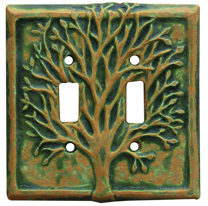 Tree double toggle switch plate, ceramic art light switch cover