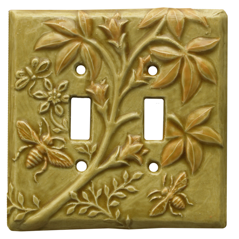 honeybees double toggle switch plate, ceramic light switch cover