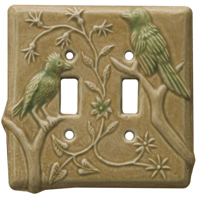 birds ceramic light switch cover, double toggle switch plate