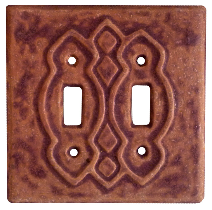 Moroccan double toggle light switch cover, ceramic art switch plate