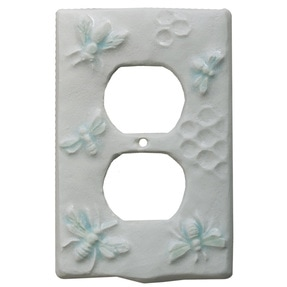Honeybees ceramic duplex outlet cover