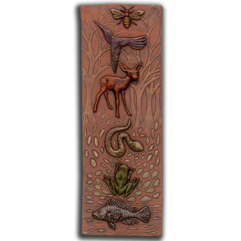 Totem of Animals ceramic art tile, terra cotta sculpted tile, bee, frog, fish bird ceramic tile, unique ceramic art sculpture wall tile
