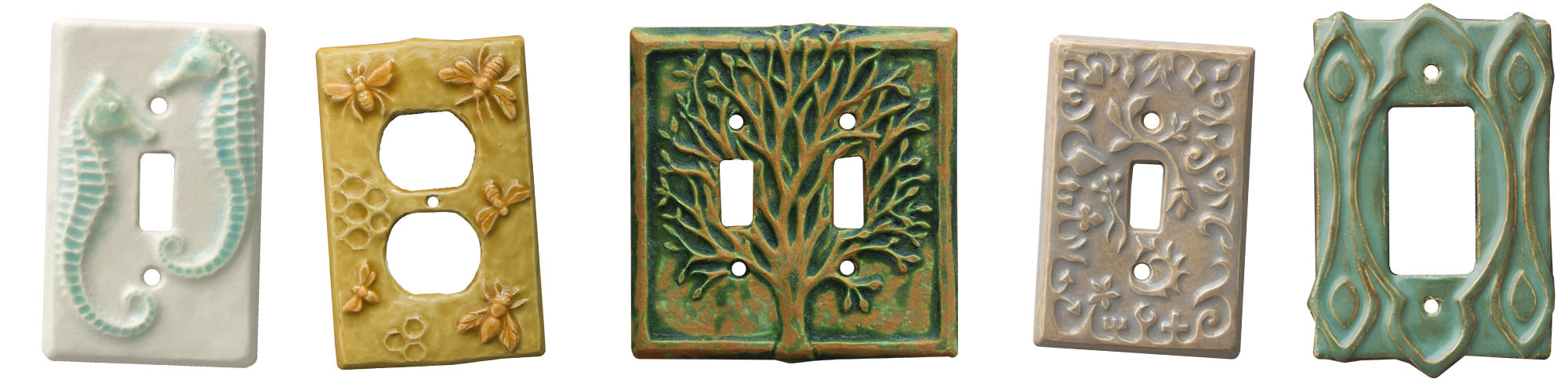 ceramic art light switch covers, unique light switch plates, moroccan switch plates, single toggle plates, GFI Outlet plates