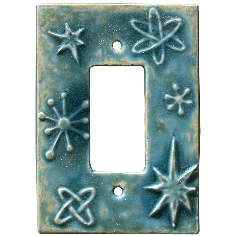 Atomic Design, Ceramic Art, Single Rocker Light Switch Plate & GFI Outlet Cover