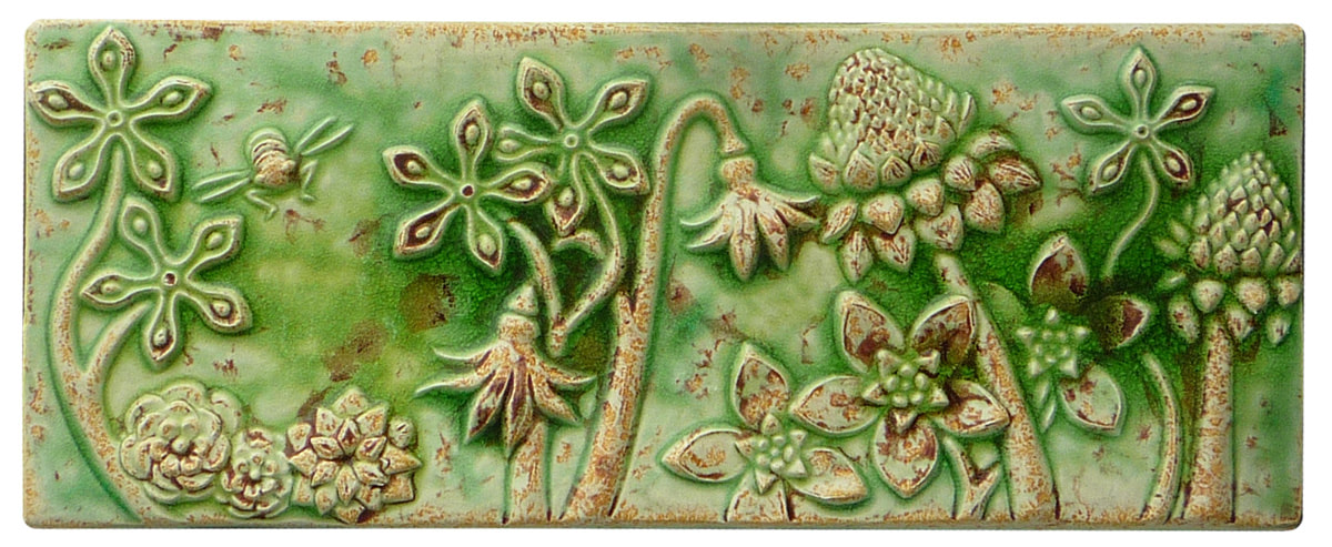 botanical & bees ceramic tile, honeybees and flowers sculpted wall tile, original art tile, unique centerpiece ceramic tile