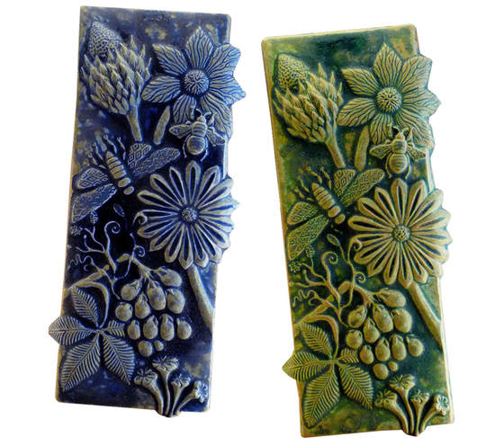 Botanical & Bees Tile, Ceramic Art, Ceramic Wall Sculpture, Unique Handmade Tile, terracotta sculpted tile