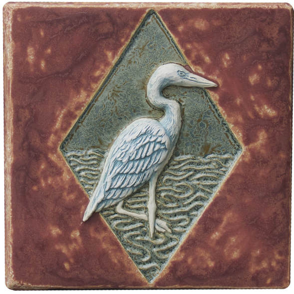 egrets ceramic art tile, sculpted ceramic wall tile, glazed terra cotta tile, unique original ceramic art sculpture