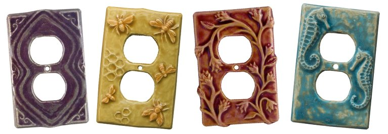 ceramic art decorative duplex outlet covers
