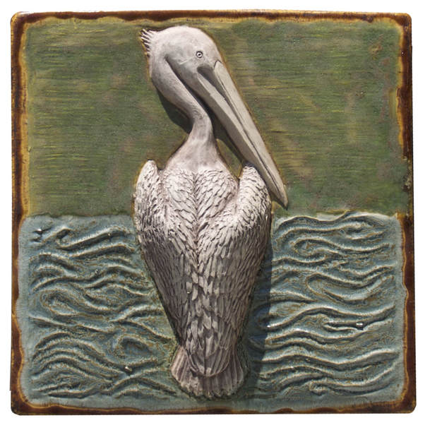 Pelican ceramic tile, ceramic art sculpted tile, original unique ceramic art sculpture