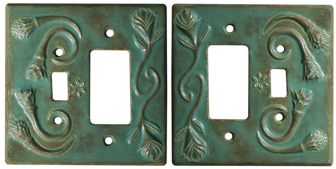 ceramic art, botanical, hand made, rustic, unique hand made, light switch cover,  single GFI Outlet plate