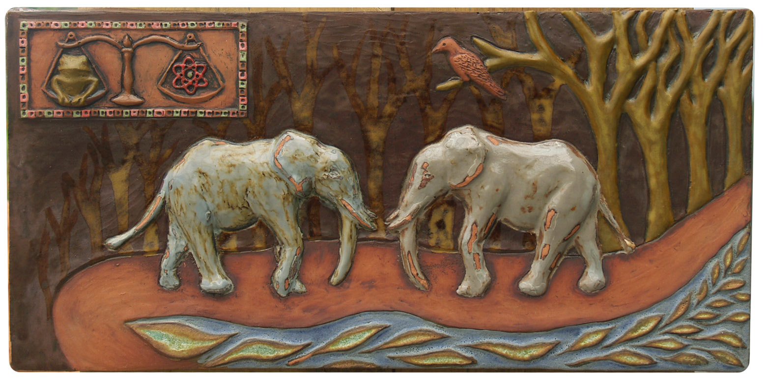 elephants ceramic art tile, elephants ceramic terra cotta sculpture, original unique ceramic art sculpture