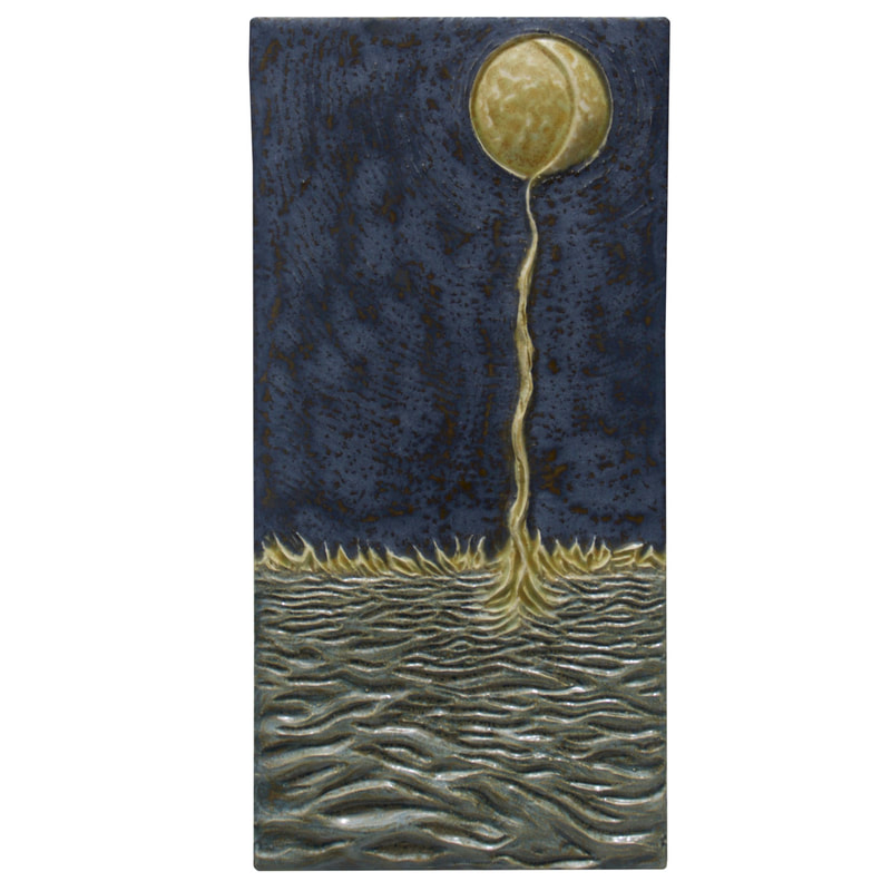 Moon Into Sea ceramic art sculpture tile, centerpiece tile, ceramic art wall sculpture, original unique ceramic art tile