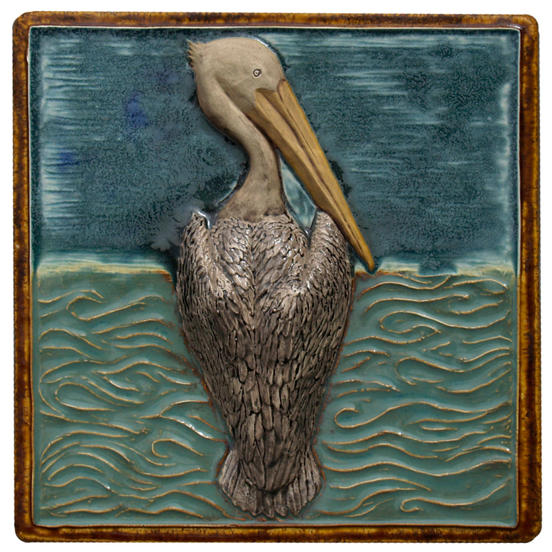 pelican ceramic tile, sculpted ceramic tile, nautical ceramic tile, glazed ceramic art tile