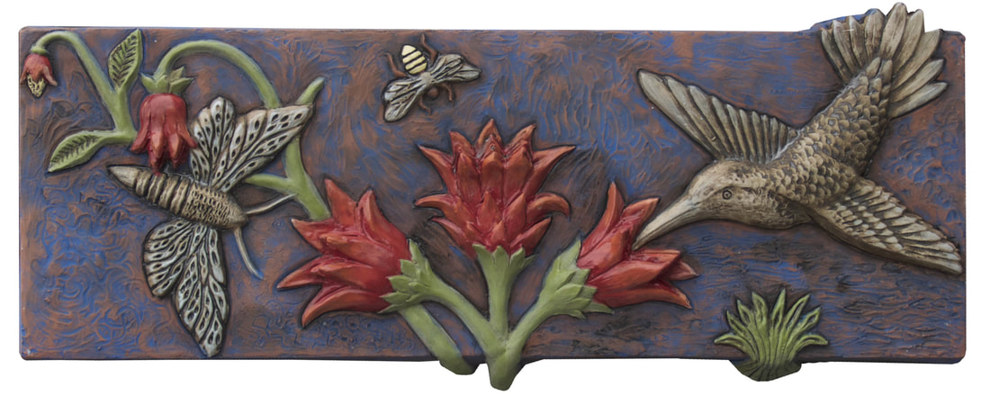 pollinators ceramic art tile, honeybee art tile, hummingbird art tile, honeybee hummingbird sculpture art tile, ceramic art sculptural wall tile