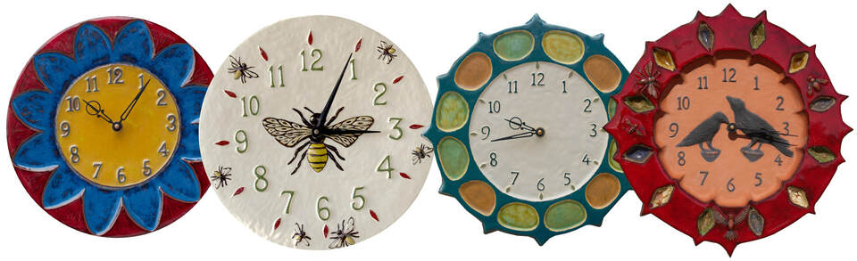 unique, hand made, farm house, country home, ceramic art clocks, quiet, battery operated clocks, honeybee clock, ravens clock, gear clock