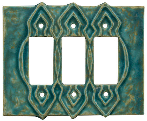 Moroccan Design Ceramic Art triple rocker, decora, gfi light switch and outlet plate