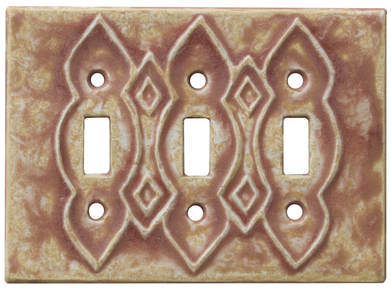 triple toggle switch plate, triple ceramic light switch cover, moroccan triple light switch