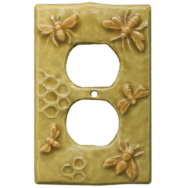 Honeybees ceramic art duplex outlet plate cover