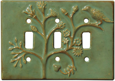 Ceramic Triple Toggle Light Switch Plate