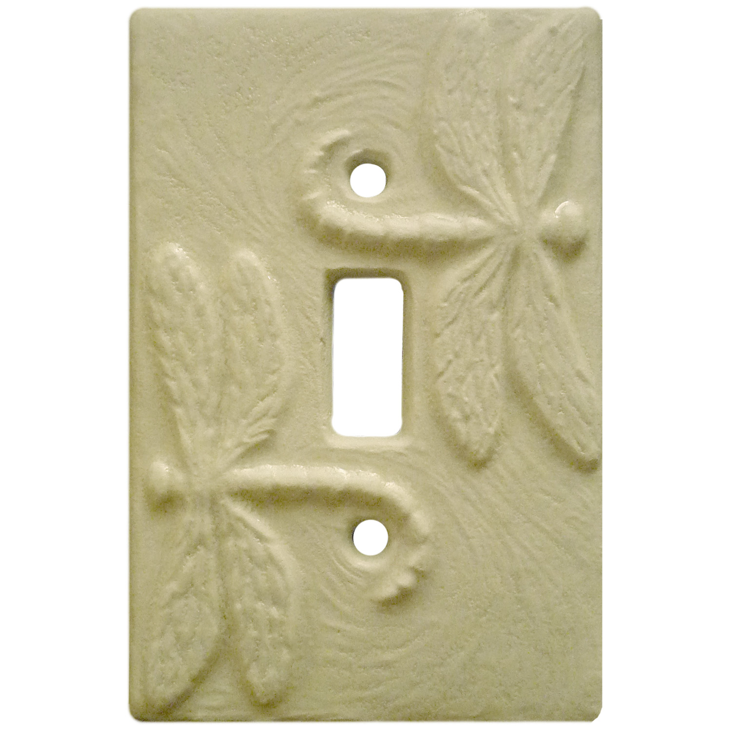 Rocker Light Switch Cover Dragonflies Ceramic Art Single Toggle Light Switch Cover In White