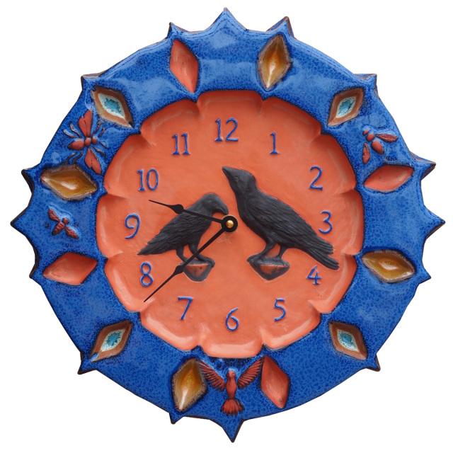 Ravens Ceramic Wall Clock In Terra Cotta Clay With Sapphire Blue Glaze