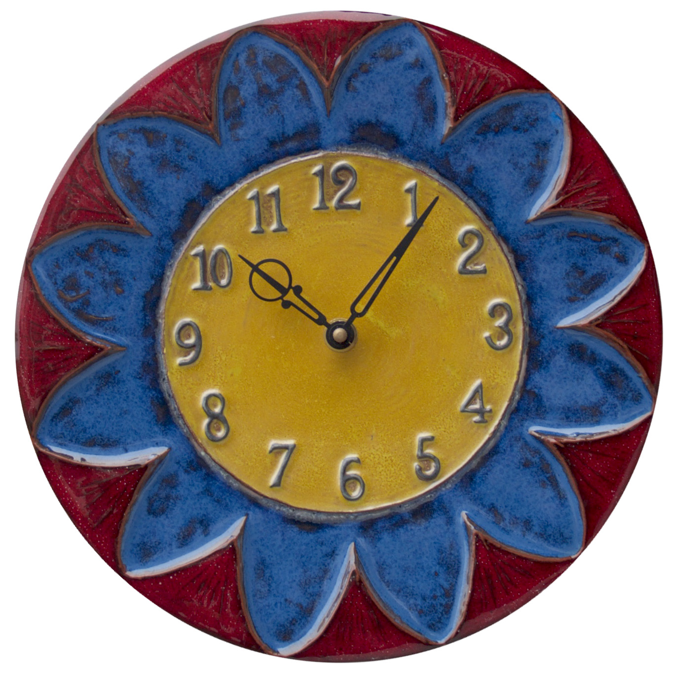 Sun Flower Ceramic Art Wall Clock in Red, Yellow & Blue- battery ...