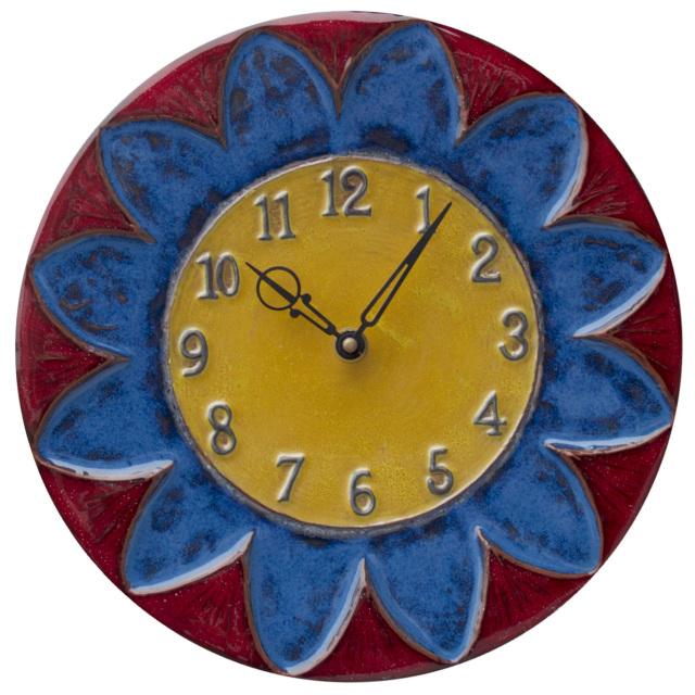 sunburst design ceramic art unique wall clock - HONEYBEE CERAMICS