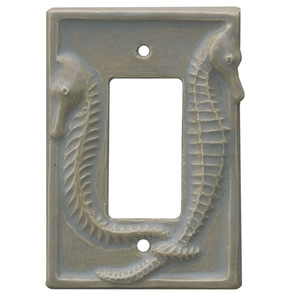 seahorses ceramic light switch cover, single decora switch plate, single rocker light switch cover
