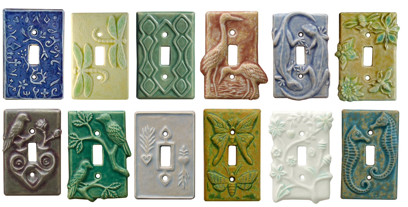 Unique Ceramic Art Single Toggle Light Switch Covers Plates Botanical Animal Birds