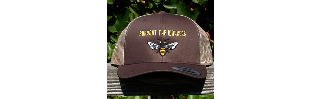 honeybee trucker hats, bee baseball caps, artist made embroidered trucker caps